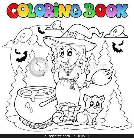 Coloring book Halloween character 1 stock vector clipart, Coloring book Halloween character 1 - vector illustration. by Klara Viskova