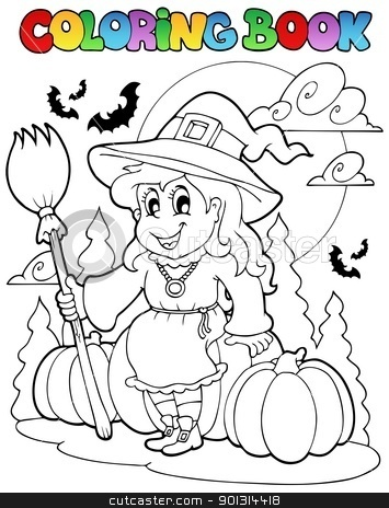 Coloring book Halloween character 4 stock vector clipart, Coloring book Halloween character 4 - vector illustration. by Klara Viskova