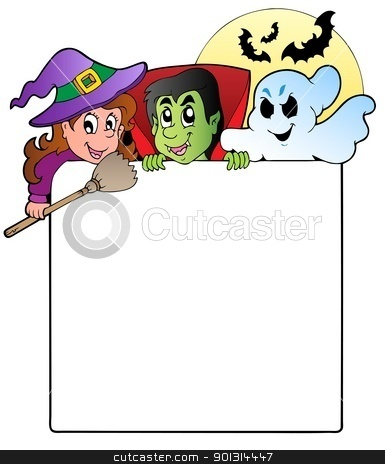 Frame with Halloween characters 1 stock vector clipart, Frame with Halloween characters 1 - vector illustration. by Klara Viskova