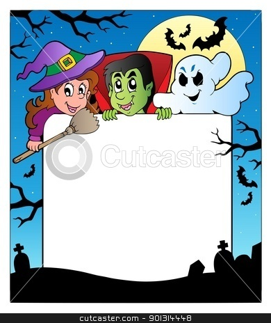 Frame with Halloween characters 2 stock vector clipart, Frame with Halloween characters 2 - vector illustration. by Klara Viskova