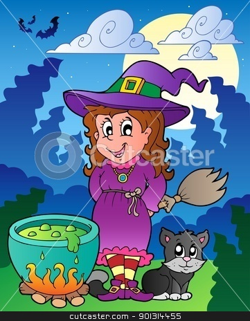 Halloween character scene 1 stock vector clipart, Halloween character scene 1 - vector illustration. by Klara Viskova