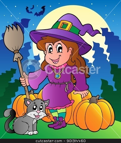 Halloween character scene 4 stock vector clipart, Halloween character scene 4 - vector illustration. by Klara Viskova
