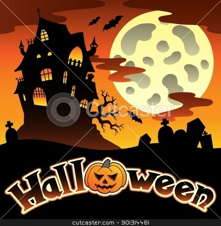 Halloween scenery with sign 1 stock vector clipart, Halloween scenery with sign 1 - vector illustration. by Klara Viskova