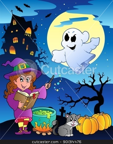 Scene with Halloween theme 4 stock vector clipart, Scene with Halloween theme 4 - vector illustration. by Klara Viskova