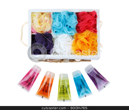 Set for bath colour sponges stock photo, Set for bath colour sponges and vials with helium for soul in wooden box by Ruslan Kudrin