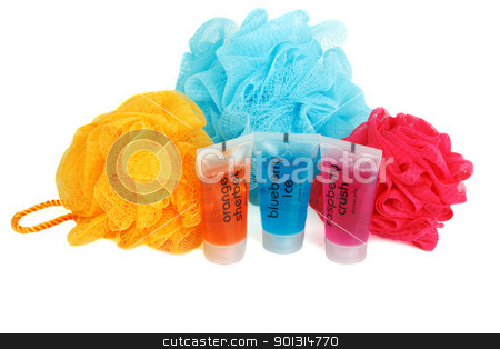 Set for bath colour sponges stock photo, Set for bath colour sponges and vials with helium for soul by Ruslan Kudrin