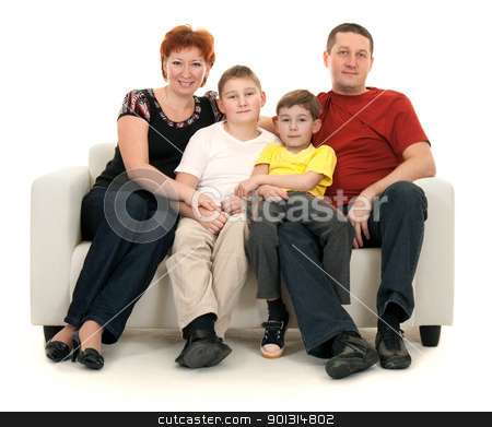 Family of four on a sofa stock photo, Family of four on a sofa on a white background by Ruslan Kudrin
