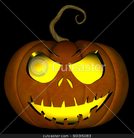 Halloween Jack O Lantern 05 stock photo, A illustration of a spooky Halloween jack o lantern, isolated on a black background. by Randall Reed