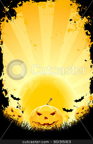 Halloween background with pumpkins bats and full moon stock vector clipart, Halloween background with pumpkins bats and full moon by Vadym Nechyporenko