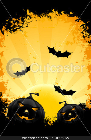 Grungy Halloween background with pumpkins bats and full moon stock vector clipart, Grungy Halloween background with pumpkins bats and full moon by Vadym Nechyporenko