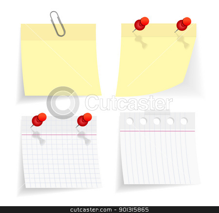 vector sticky paper set stock photo, vector sticky paper set on white background by sermax55