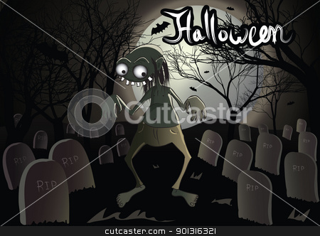 Halloween zombie stock vector clipart, Halloween zombie in the graveyard vector illustration by aos1212