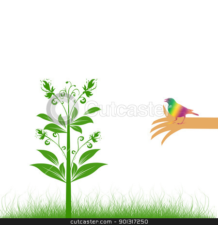Environmental concept stock vector clipart, Abstract background of Environmental concept with floral,bird and hand by Ingvar Bjork