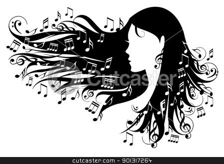 woman with music notes stock vector clipart, woman with music notes in her hair, vector illustration by Beata Kraus