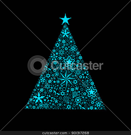 Christmas decoration stock vector clipart, Beautiful christmas decoration of stars tree isolated on black by Ingvar Bjork