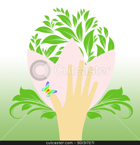 Environmental concept stock vector clipart, Environmental concept with floral,butterfly and hand  by Ingvar Bjork