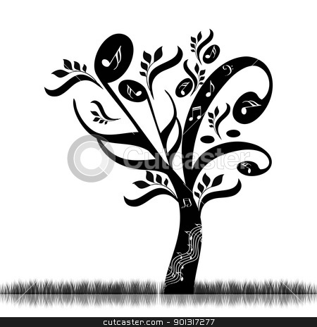 Music tree stock vector clipart, Abstract art tree with music notes  by Ingvar Bjork