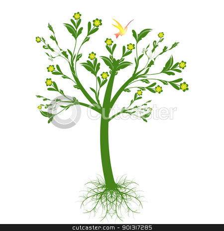 Art tree stock vector clipart, Beautiful art tree with roots isolated on white background by Ingvar Bjork