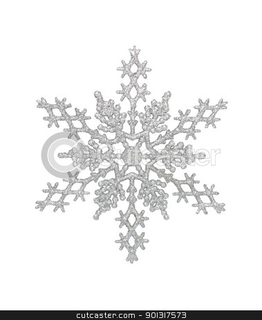 Silver Snowflake stock photo, Silver snowflake, isolated w/clipping path by Bryan Mullennix