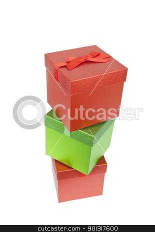 Three Red and Green Christmas Presents stock photo, Three red and green christmas presents, isolated w/clipping path by Bryan Mullennix