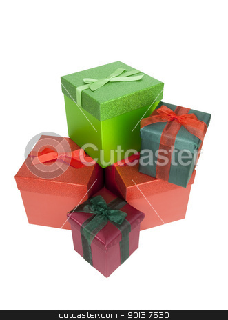 Christmas Presents stock photo, Christmas Presents, isolated w/clipping path by Bryan Mullennix