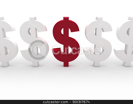 3d dollar red currency stock photo, 3d dollar red currency business money white by d3images