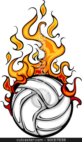 Volleyball Flaming Ball Vector Cartoon stock vector clipart, Flaming Volleyball Ball Vector Cartoon burning with Fire Flames by chromaco