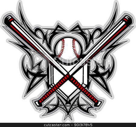 Baseball Softball Bats Tribal Graphic Vector Image stock vector clipart, Vector Graphic of a Baseball Bats, Baseball, and Home Plate with Tribal Borders by chromaco