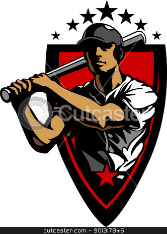 Baseball Player Batting Vector Design Template stock vector clipart, Baseball Vector Design Template of a Baseball Hitter Swinging Bat by chromaco