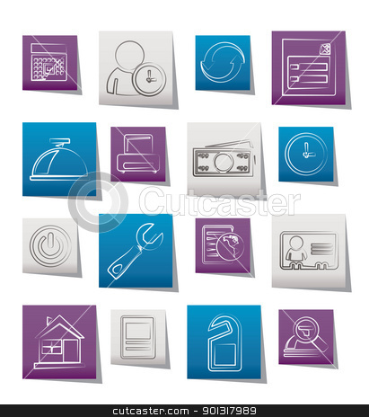reservation and hotel icons stock vector clipart, reservation and hotel icons - vector icon set by Stoyan Haytov