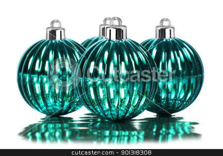 Blue christmas decoration baubles on a white background with space for text stock photo, Blue christmas decoration baubles on a white background with space for text by tish1
