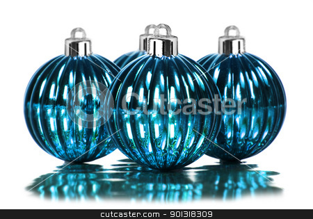 Blue christmas decoration baubles on a white stock photo, Blue christmas decoration baubles on a white background with space for text by tish1