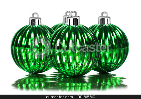 Green christmas decoration baubles on a white stock photo, Green christmas decoration baubles on a white background with space for text by tish1