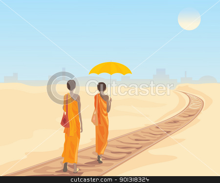 railway tracks stock vector clipart, an illustration of two buddhist monks walking along a railway track with a city in the distance under a hot sun by Mike Smith