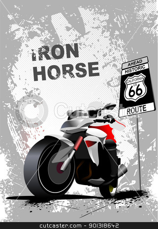 Grunge gray background with motorcycle image. Vector illustratio stock vector clipart, Grunge gray background with motorcycle image. Vector illustration by Leonid Dorfman