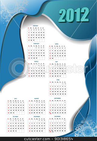 2012 calendar with wave image. Vector illustration  stock vector clipart, 2012 calendar with wave image. Vector illustration  by Leonid Dorfman