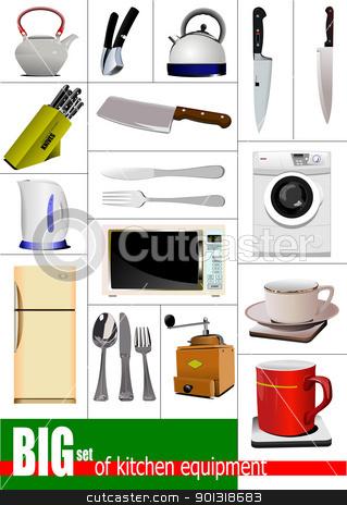 Big set of kitchen equipment. Vector stock vector clipart, Big set of ...