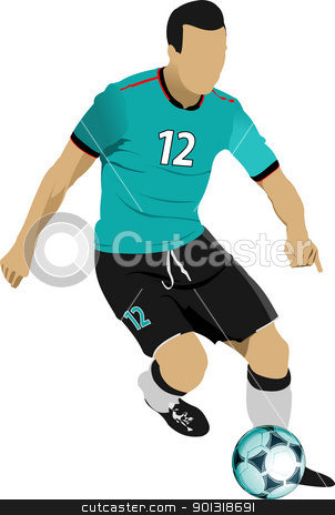 Soccer players. Colored Vector illustration for designers stock vector clipart, Soccer players. Colored Vector illustration for designers by Leonid Dorfman