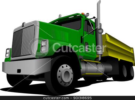 Green Tipper isolated on white background vector illustration stock vector clipart, Green Tipper isolated on white background vector illustration by Leonid Dorfman