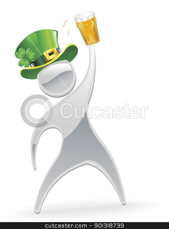 Metallic man St. Patrick's Day concept stock vector clipart, Metallic cartoon mascot character St. Patrick's Day concept by Christos Georghiou