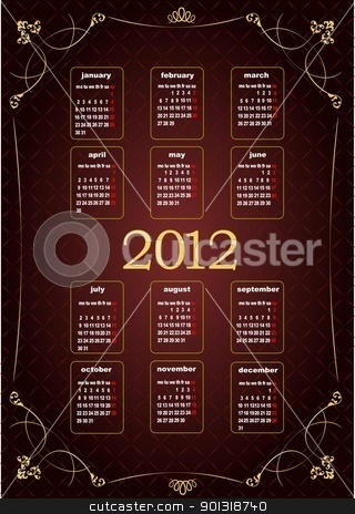 Vintage image 2012 calendar. Vector illustration  stock vector clipart, Vintage image 2012 calendar. Vector illustration  by Leonid Dorfman