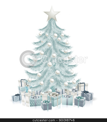 Silver blue Christmas tree and gifts stock vector clipart, A silver blue Christmas tree with baubles and gifts. by Christos Georghiou