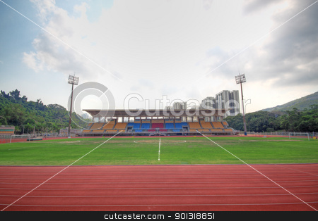 empty football field stock photo, empty football field by Keng po Leung