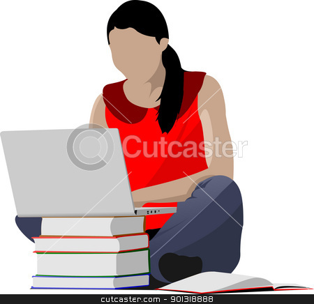 Sitting girl with laptop and book`s column. Back to school. Vect stock vector clipart, Sitting girl with laptop and book`s column. Back to school. Vector illustration by Leonid Dorfman