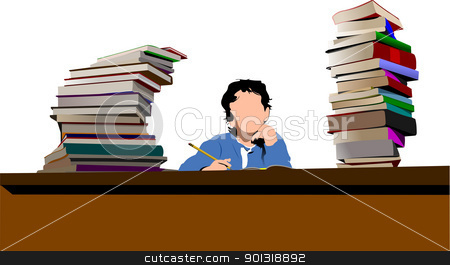 Sitting boy between book`s column. Back to school. Vector illust stock vector clipart, Sitting boy between book`s column. Back to school. Vector illustration by Leonid Dorfman