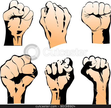 Six Struggle Hand Symbols. Vector Illustration stock vector clipart, Six Struggle Hand Symbols. Vector Illustration by Leonid Dorfman
