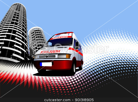 Abstract urban background with ambulance image. Vector illustrat stock vector clipart, Abstract urban background with ambulance image. Vector illustration by Leonid Dorfman