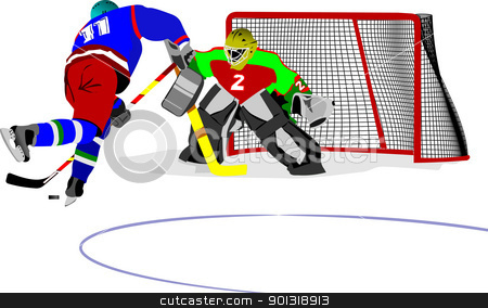 Ice hockey players. Colored Vector illustration for designers stock vector clipart, Ice hockey players. Colored Vector illustration for designers by Leonid Dorfman