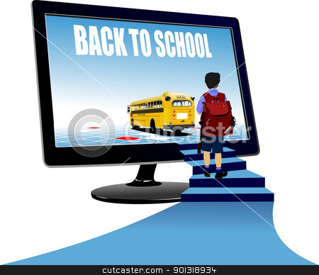 Schoolboy upstairs to school bus. Back to school. Vector illustr stock vector clipart, Schoolboy upstairs to school bus. Back to school. Vector illustration by Leonid Dorfman