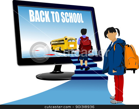 School boy and school girl  upstairs to school bus. Back to scho stock vector clipart, School boy and school girl  upstairs to school bus. Back to school. Vector illustration by Leonid Dorfman